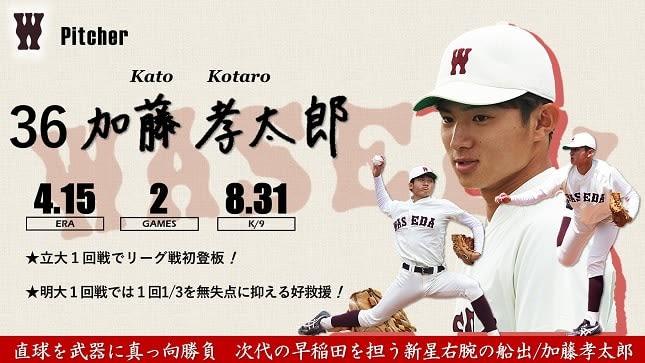 【緊急】令和3年度春季早慶戦 注目選手特集 36 加藤孝太郎