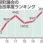 那賀町、議会改革度ランク過去最高26位 20年度、住民参画・機能強化で高評価