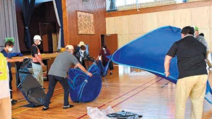 茨城・守谷市 感染症念頭に防災訓練 避難所の設営実践